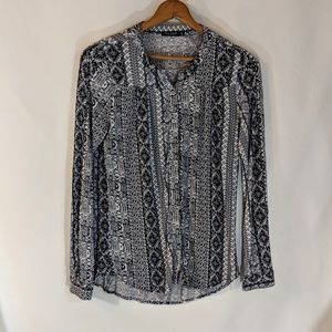 Max Jeans Tops - Blue and White Smock Casual Shirt sz M Hippie Boho